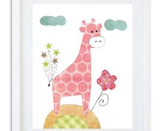 nursery print, nursery decor, kids room wall art,  nursery art, giraffe decor, girls room - giraffe with stars