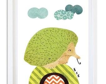 Australian Nursery decor, Nursery print, Nursery art, Kids room wall art - Cute little echidna