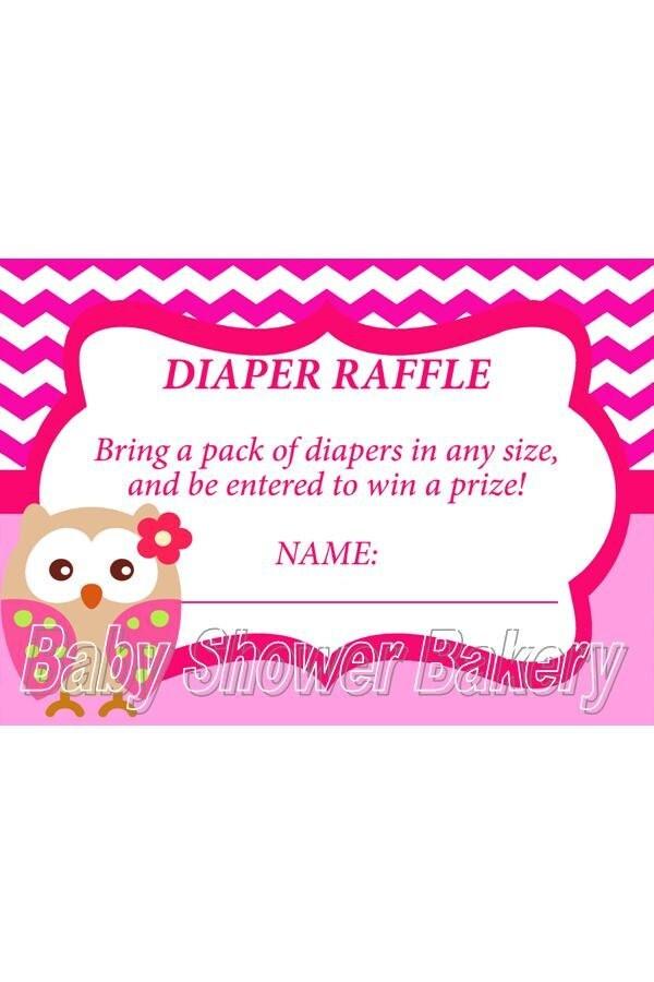 owl diaper raffle ticket instant download owl baby shower