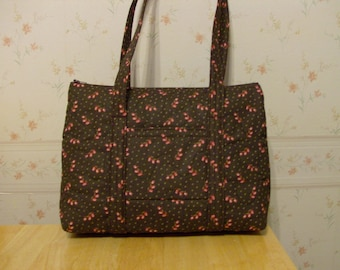 Brown with Pink Roses Print Quilted Purse