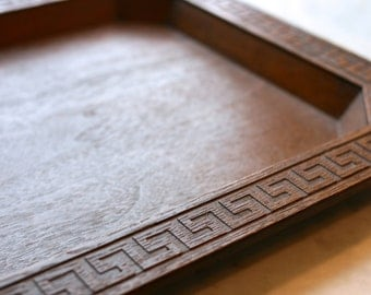 Vintage Faux Wood Tray with Greek Key Border
