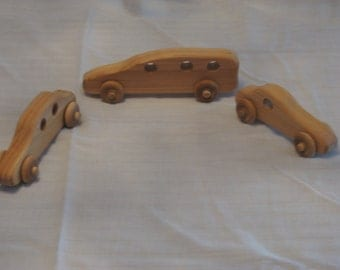 Wooden Toy Car Set - Van, Sedan, And Sports Coupe