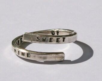 Guns n Roses Lyric Ring, 'Sweet Child O' Mine' Sterling Silver, 925, Appetite for Destruction, handmade. Music