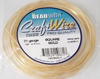 The BeadSmith 21 Gauge Square Gold Craft Wire Non Tarnish