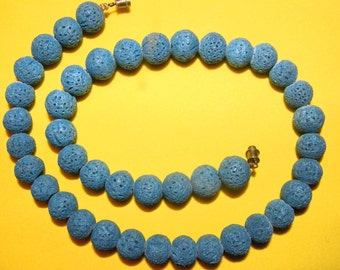 Blue Lava Rock Necklace - Vintage, from Hawaii - Lava has been made into beads then dyed blue