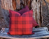 Reversible Plaid Accent Pillow Covers - Royal Burgundy and Navy