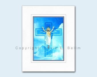 Christ Rising In Blue Sky Giclée print by David E. Bellm