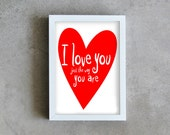 I love you, typography art print, love poster, red heart print, love print decoration, wall art