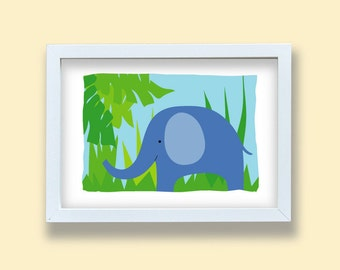 Children room art print, Elephant print, Baby nursery room print, Elephant decoration, jungle