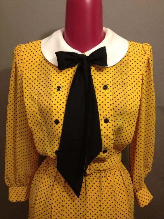 VintageYellow Polk a Dot Dress with Peter Pan Collar