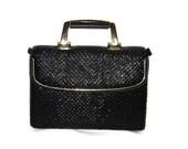 Beautiful Black Classic Purse Crossbody Bag Beaded NOS