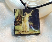 Belly Dancer in White Harem Pants Wood Tile Charm Pendant on Black Leather Necklace Gifts under 5