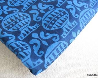 Indian Block Print Fabric - Cotton Silk Blend Fabric - Chanderi Silk - by Yard