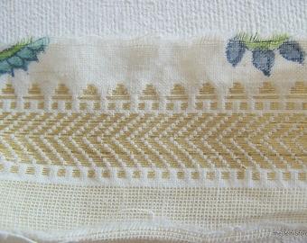 Ivory and Gold Cotton Sari Zari Border / Trim for Craft