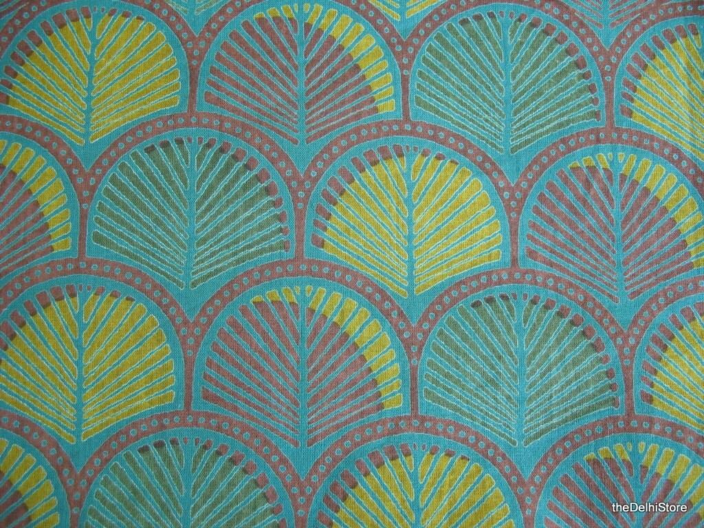 Leaf Print Indian Block Print Cotton Fabric By Yard