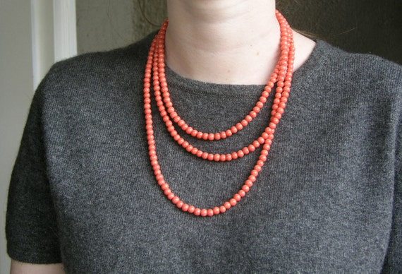 Coral Long Beaded Necklace (Small)
