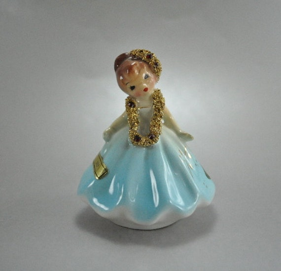 Josef Originals July Birthday Doll Figurine Blue Dress Gold