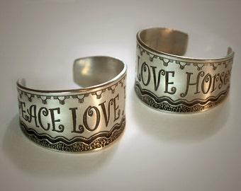 Peace Love Horses cuff bracelet