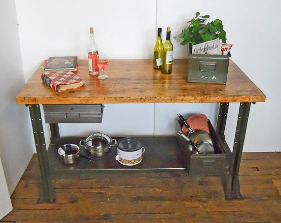 Green Kitchen Island With Butcher Block : Butcher Block Kitchen Island Desk Table Workbench Green Metal