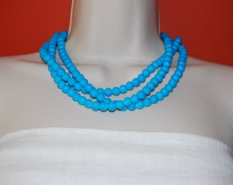 Statement Necklace Chunky Bright Blue Glass Beaded Necklace Bold Multi-Strand Bridal Jewelry Bridesmaid Necklace Wedding