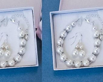 50% OFF SALE 2 (TWO) Bridesmaids gifts-Pearl Jewelry sets with Bracelet and Earrings (15 Colors Available)