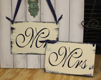 MR - MRS Chair Signs/Wedding Sign/Photo Prop/U Choose Colors/Great Shower Gift/Navy/Ivory