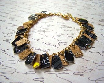 One of a Kind Black and Gold Upcycled Credit Card Bracelet / Gift for Her