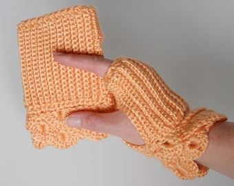 Crocheted Handwarmers with Crocodile Stitch Cuff in Peach, Fingerless Gloves, Fingerless Mitts, Stocking Stuffer, Gift Idea for Her