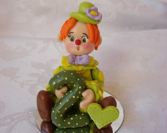 Personalized Clown Second Christmas Ornament, Childrens 2nd  Birthday Cake Topper, Figurine.  A Handcrafted Art Sculpture.