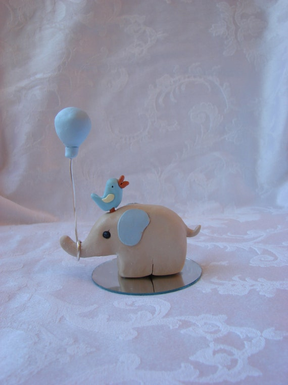 elephant with balloon baby shower birthday cake topper polymer clay