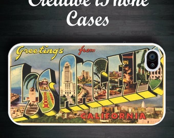 iPhone 5S case Greetings from Los Angeles Vintage Postcard - iPhone 4, iPhone 4s, iPhone 5, iPhone 5s and the iPhone 5C