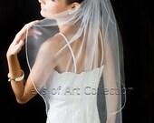 "1T Elbow/Waist Bridal Wedding Veil 1/8"" Satin Cord Trim VE208 white, ivory NEW CUSTOM VEIL"