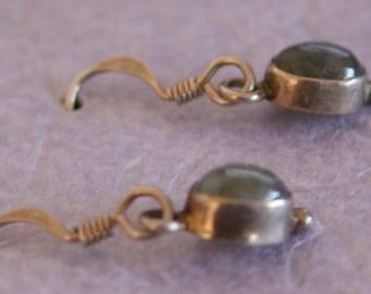Vintage Handcrafted Labradorite 925 Sterling Silver Pierced Earrings