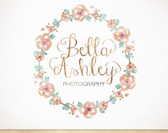 Premade wreath watercolor logo design for boutique, photography