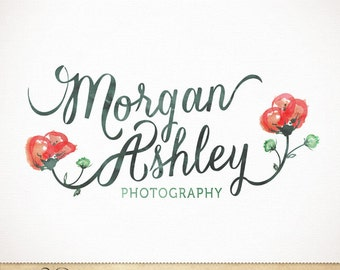 Custom Premade Logo Calligraphy Watercolor Flower Poppy Design for Photography & Boutique