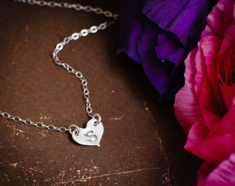 Tiny Silver Heart Initial Necklace  - Sterling Silver Dainty Personalized Necklace, Monogram Necklace Customize