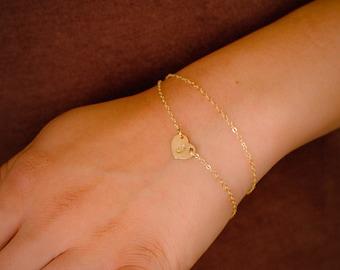 Gold Heart Initial Bracelet, Gold Heart Bracelet, Dainty Gold Bracelet, Delicate Bracelet, Simple Gold Bracelet, Everyday Layered Bracelet