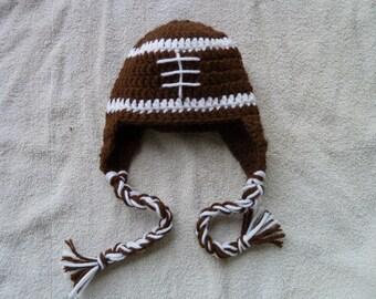 Crochet newborn football beanie with earflaps