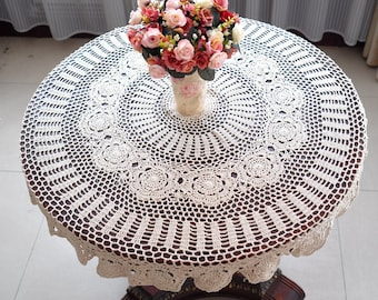 Size:110CM    Handmade Crocheted Round Tablecloth