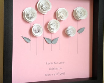 White Rose Garden, 3D Paper Art, Customize with your colors and personalize- baptism, first communion, or wedding