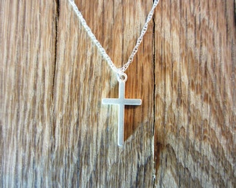 Sterling Silver Cross Pendant Necklace - Sterling Silver Chain - 20""