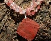 Triple Strand Cherry Quartz large pendant necklace