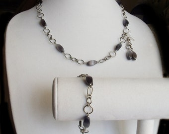 Chainmaille and Black Cats Eyes Necklace Bracelet and Earring set