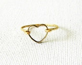 14K Gold Filled and Brass Open Heart Ring