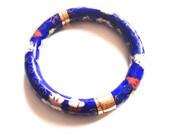 Vintage Chinese enamel bracelet, enamel bangle, brass, hand painted bangle, Asian bangle