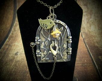 Fairy Door Locket, Bird and Flower Locket, Czech Glass Flower, Wish Locket, Keepsake Locket, Prayer Locket, Fairy Door, Fairyland Locket
