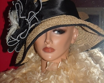 Kentucky Derby Flapper Hat Cloche 1920 Theme Personalized Headdress Exclusive Band Flower Millinery ArtWork