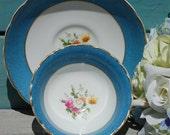 ROYAL CAULDON Blue Bone China Tea Cup and Saucer Stunning Collectible
