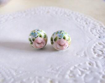 5pcs, Japanese Tensha Rose round bead