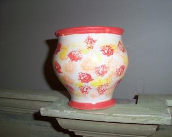 Handmade Orange Pottery Bowl